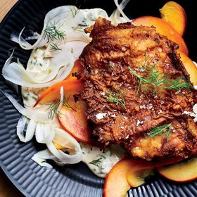 mkgalleryamp; Wine: Buttermilk Fried Chicken with Pickled Peach-Fennel Salad