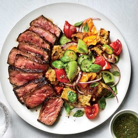 mkgalleryamp; Wine: Charred Cucumber Panzanella with Grilled Steak