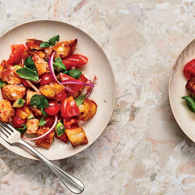 mkgalleryamp; Wine: Tomato, Basil, and Cucumber Panzanella with Grated Tomato Balsamic Vinaigrette