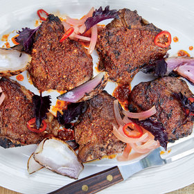 mkgalleryamp; Wine: Chermoula-Grilled Porterhouse Lamb Chops