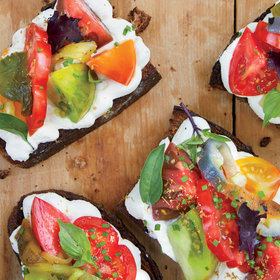 Food & Wine: Heirloom Tomato and Pepper Toasts with Whipped Ricotta