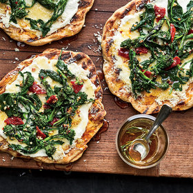 Food & Wine: Grilled Flatbreads with Broccoli Rabe, Ricotta, and Rosemary Honey