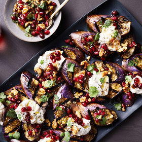 Food & Wine: Charred Eggplant with Burrata and Pomegranate-Walnut Relish
