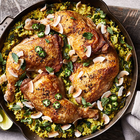 mkgalleryamp; Wine: Coconut-Braised Chicken and Rice with Collard Greens