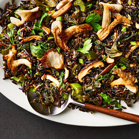 Food & Wine: Fried Wild Rice with Mustard Greens and Mushrooms
