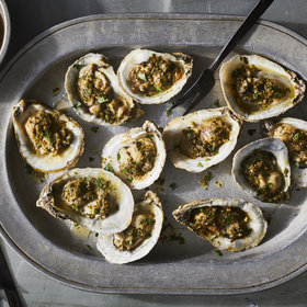 Food & Wine: Barely Grilled Oysters with Sherried Garlic Butter