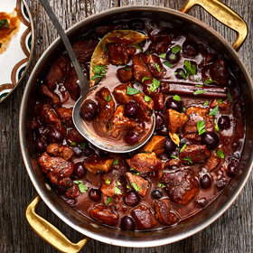 Food & Wine: Oven-Braised Veal Stew with Black Pepper and Cherries