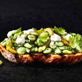 Food & Wine: Garlic Toasts with Lemon Aioli and Marinated Beans