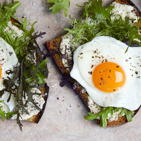Food & Wine: Basted Egg Tartines with Creamed Mustard