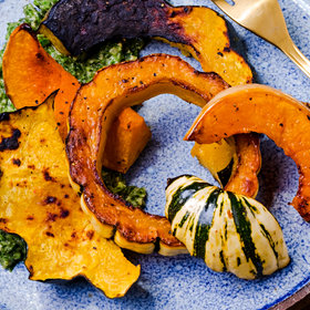 Food & Wine: Roasted Squash Wedges with Collard-Peanut Pesto