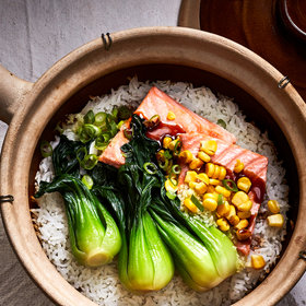 Food & Wine: Ginger Crispy Rice with Salmon and Bok Choy