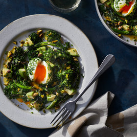 Food & Wine: Broccoli Rabe and Avocado Salad with Lemon Dressing and Herby Molten Eggs