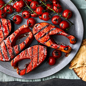 Food & Wine: Quick-Cured Salmon Steaks with Grilled Tomatoes and Tzatziki