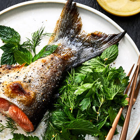 Food & Wine: Slow-Roasted Salmon Tails with Herb-And-Mustard Seed Salad