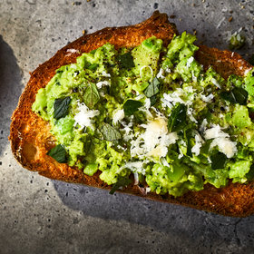 Food & Wine: Smashed Fava Beans on Toast with Pecorino and Mint