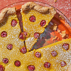 Food & Wine: Turmeric Custard Pie with Raspberries