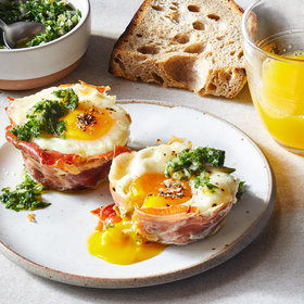 Food & Wine: Breakfast Egg Cups with Parsley Gremolata and Mushrooms