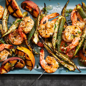 Food & Wine: Shrimp-and-Okra Kebabs with Grilled Peaches and Jalapeño-Bourbon Vinaigrette