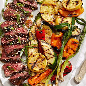 Food & Wine: Hanger Steak with Kimchi Glaze and Miso Butter–Grilled Vegetables