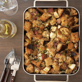 Food & Wine: Sourdough Rye Stuffing with Ham and Cheese