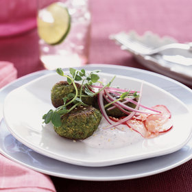mkgalleryamp; Wine: Spring Pea Falafel with Marinated Radishes and Minted Yogurt