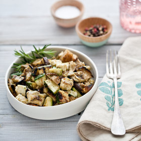 Food & Wine: Grilled Vegetable Salad with Croutons, Haloumi and Anchovy Sauce