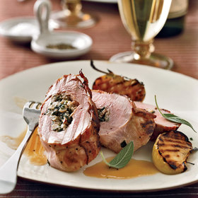 Food & Wine: Stuffed Pork Tenderloins with Bacon and Apple-Riesling Sauce