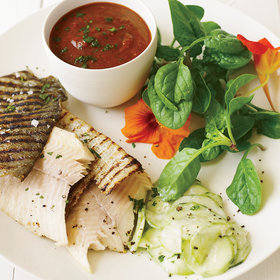 Food & Wine: Grilled Trout with Smoky Tomatillo Sauce and Cucumber Salad