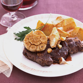 Food & Wine: Bison Rib Eye Steaks with Roasted Garlic