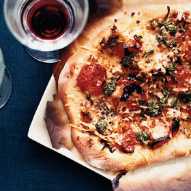 Food & Wine: Pizza with Charred Cherry Tomatoes and Pesto