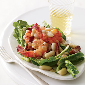 Food & Wine: Warm Spinach Salad with Cannellini Beans and Shrimp