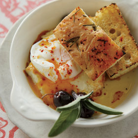 Food & Wine: Poached Eggs with Baked Feta and Olives