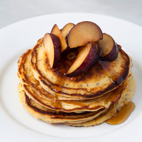 Food & Wine: Chia Mascarpone Pancakes with Fresh Plums