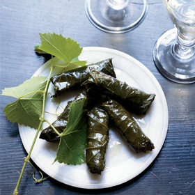 mkgalleryamp; Wine: Stuffed Grape Leaves with Pork and Fregola