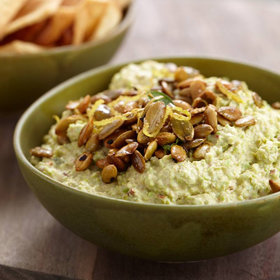 Food & Wine: Goat Cheese-Edamame Dip with Spiced Pepitas