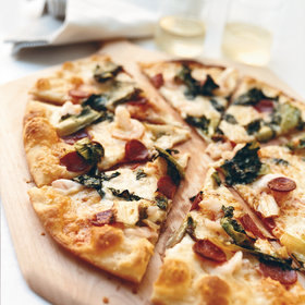 Food & Wine: Shrimp-and-Chorizo Pizza with Escarole and Manchego