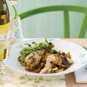 Food & Wine: Roasted Herb Chicken with Morels and Watercress Salad