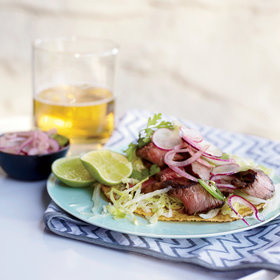 Food & Wine: Grilled T-Bone Tostadas with Spicy Radish Salad
