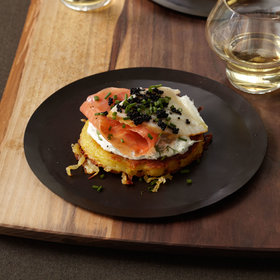 Food & Wine: Crispy Potato Galette with Dill Cream, Smoked Salmon and Sturgeon and Osetra Caviar
