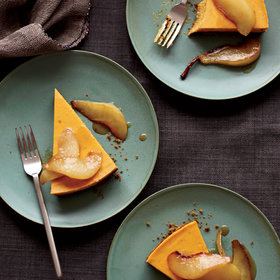 Food & Wine: Pumpkin Cheesecake with Brown-Butter Pears