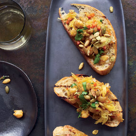 Food & Wine: Curried Spaghetti-Squash-and-Chickpea Toasts