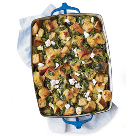 Food & Wine: Spinach Bread Pudding with Lemon and Feta