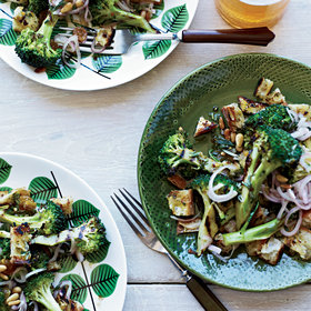 Food & Wine: Grilled Broccoli and Bread Salad with Pickled Shallots