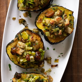 Food & Wine: Baked Acorn Squash with Chestnuts, Apples and Leeks