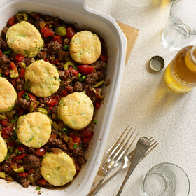 Food & Wine: Cuban Beef Casserole with Corn-Scallion Biscuit Topping