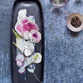 Food & Wine: Radishes with Sour Cream Dressing and Nigella Seeds