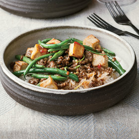 Food & Wine: Spicy Green Bean and Tofu Stir-Fry with Ground Bison