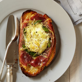 Food & Wine: Baked Eggs with Spinach, Asparagus, and Prosciutto