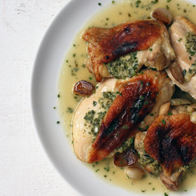 Food & Wine: Crispy Roast Chicken and Shallots with Miso Gravy