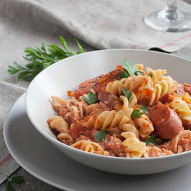 Food & Wine: Fusilli with Spicy Chicken Sausage, Tomato, and Ricotta Cheese